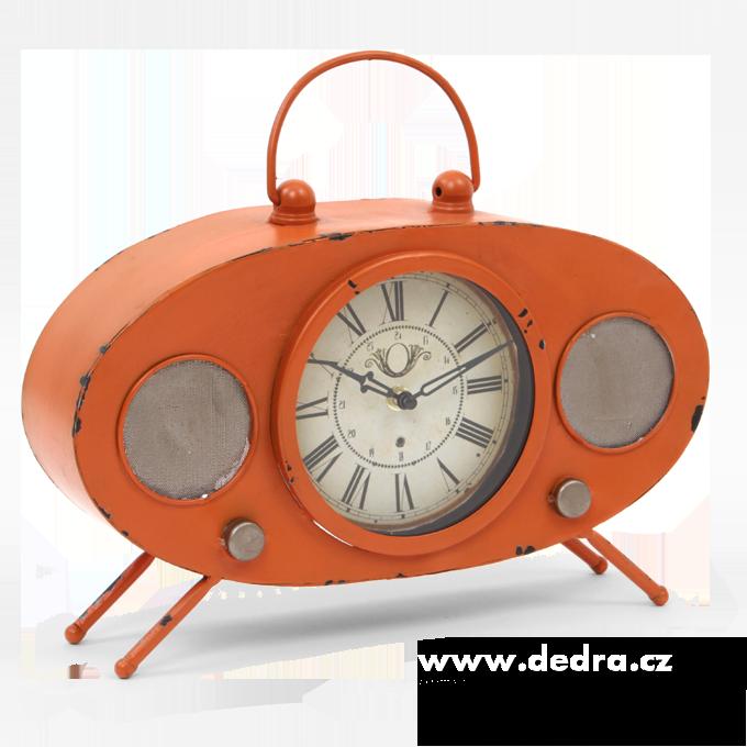Velké kovové hodiny, design retro rádia