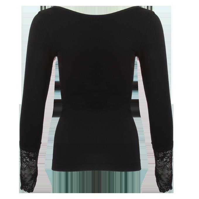 FC82891-WANDA elastický top s dlhým rukávom čierny