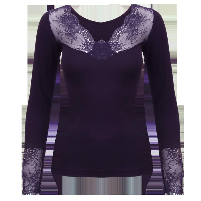 WANDA elastický top s dlouhým rukávem tmavě fialový L/XL