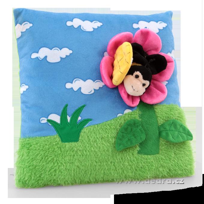 Plyšový polštář s 3D dekorací květinka s včelkou