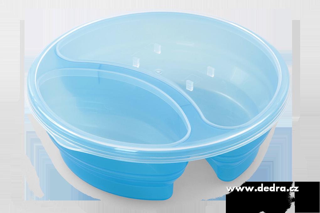 Duobox 700ml+300ml dóza na potraviny modrý kulatý