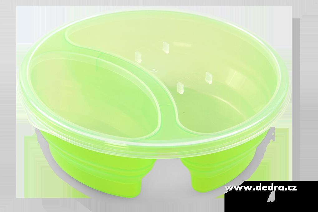 Duobox 700ml+300ml dóza na potraviny zelený kulatý