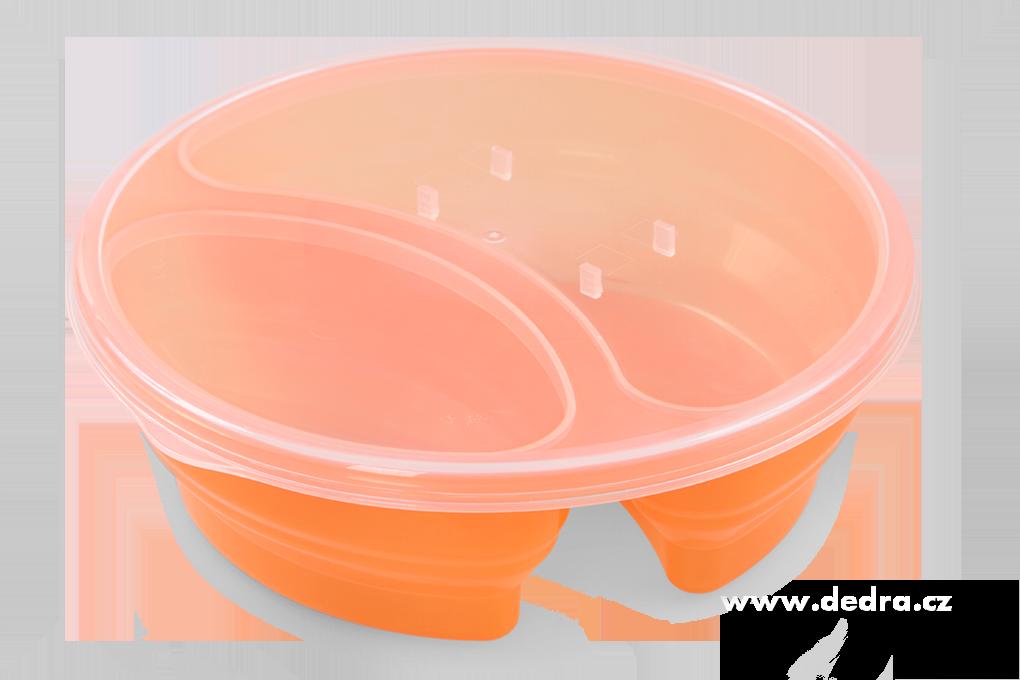 Duobox 700ml+300ml dóza na potraviny oranžový kulatý