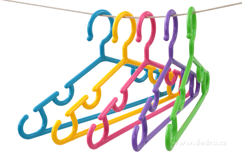 5 ks dětská ramínka vychytaná 5 barev