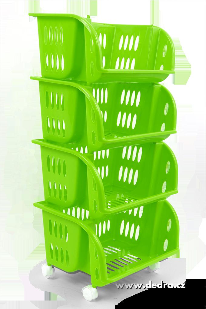 4 patrový plastový regál na kolečkách jasně zelený