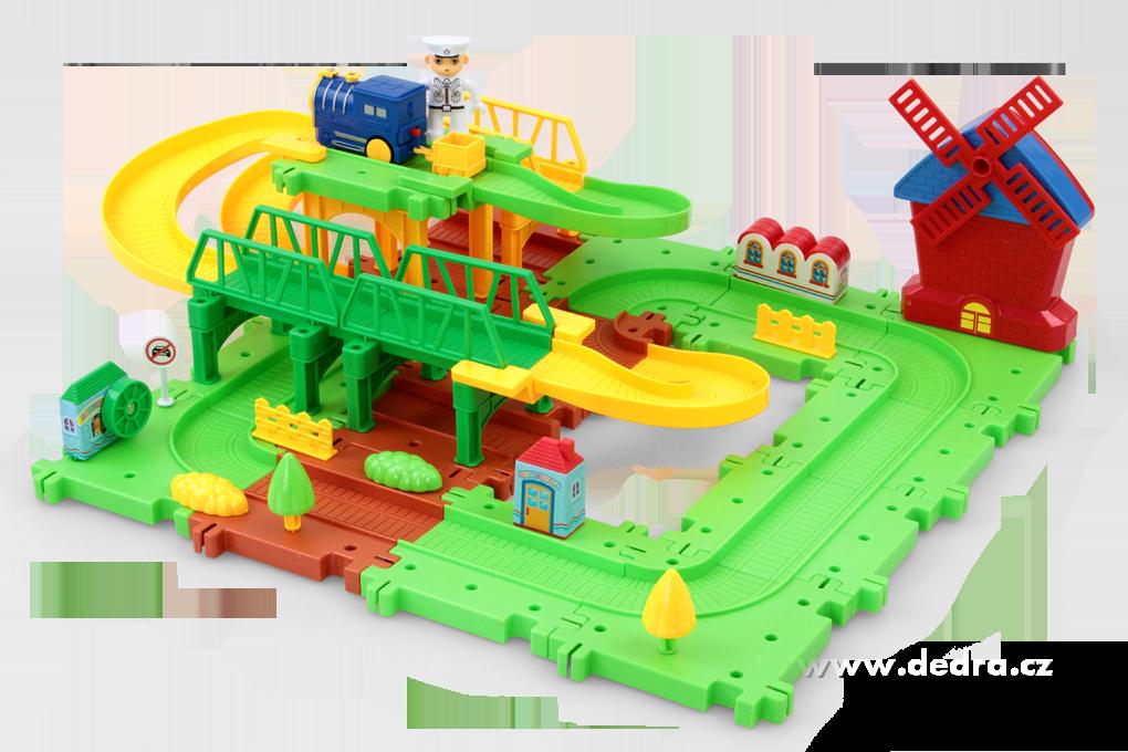 Železniční dráha s větrným mlýnem hračka