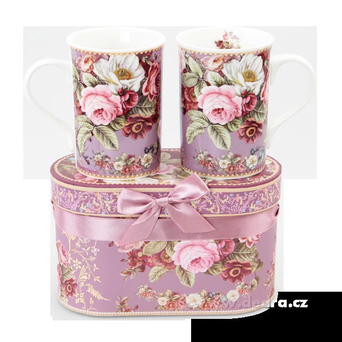 2 ks porcelán.hrnek v dárkovém boxu  ROMANTIC FLOWERS
