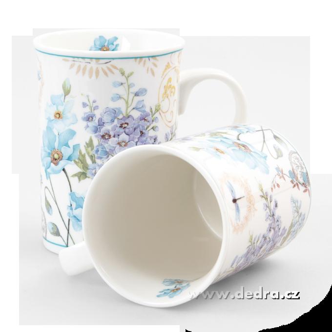 2 ks porcelán.hrnek v dárkovém boxu BLUE FLOWERS