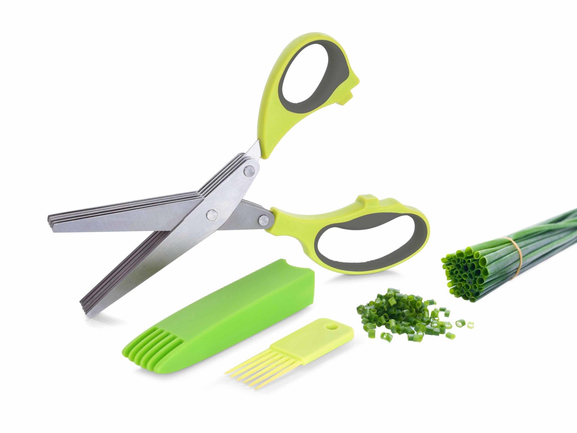 BYLINKÁTOR s 5 břity, nůžky na bylinky, + čistítko a kryt