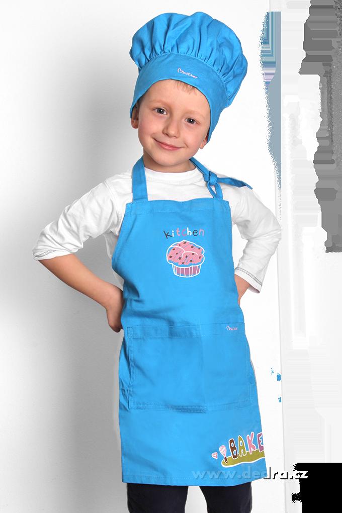 Sada malý šéfkuchař zástěra a čepice modrá