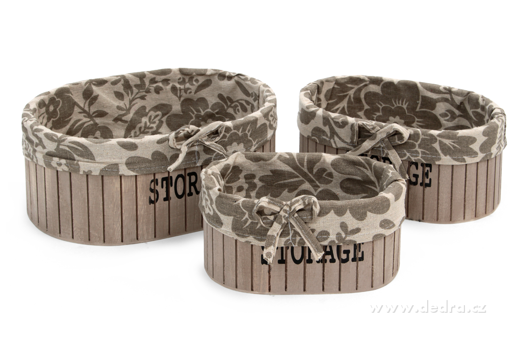 3ks boxy STORAGE oválné dřevěné s textilním potahem