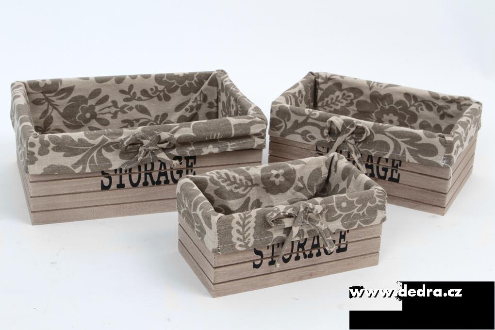 3ks boxy STORAGE obdélníkové dřevěné s textilním potahem