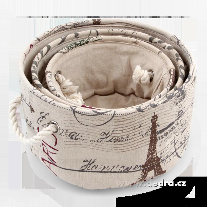 3ks PARIS kulatý box textilní úložné