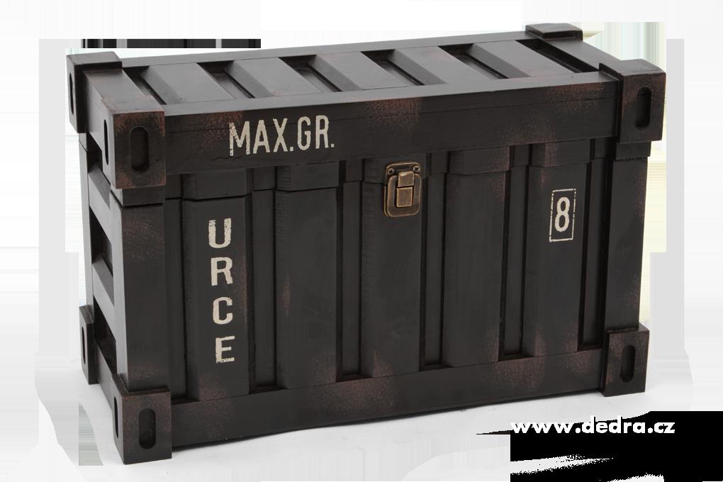 Úložný box/bedna, dřevěný obdélníkový