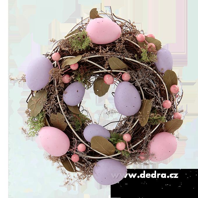 Dekorativní věnec, s fial.a růž.vajíčky
