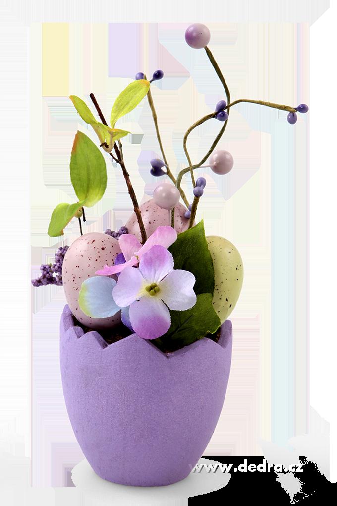 Květináč s vajíčky velikonoční dekorace fialový