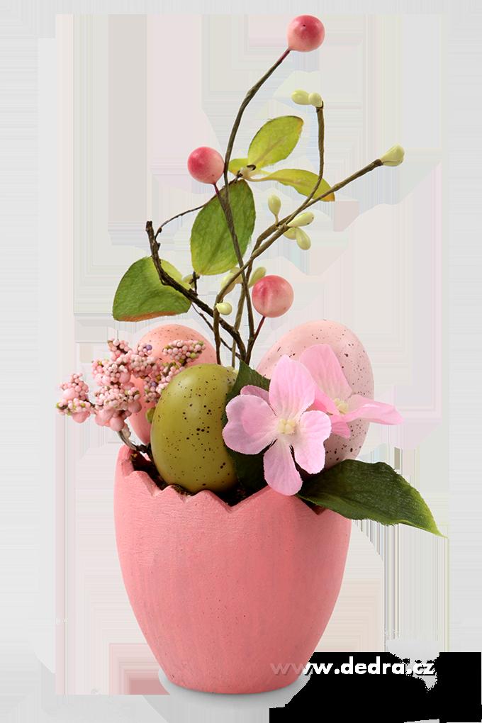 Květináč s vajíčky velikonoční dekorace růžový