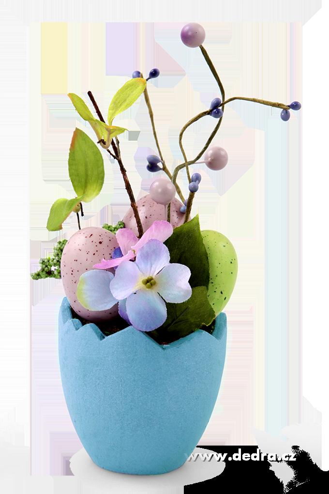 Květináč s vajíčky 23 cm,, velikonoční dekorace