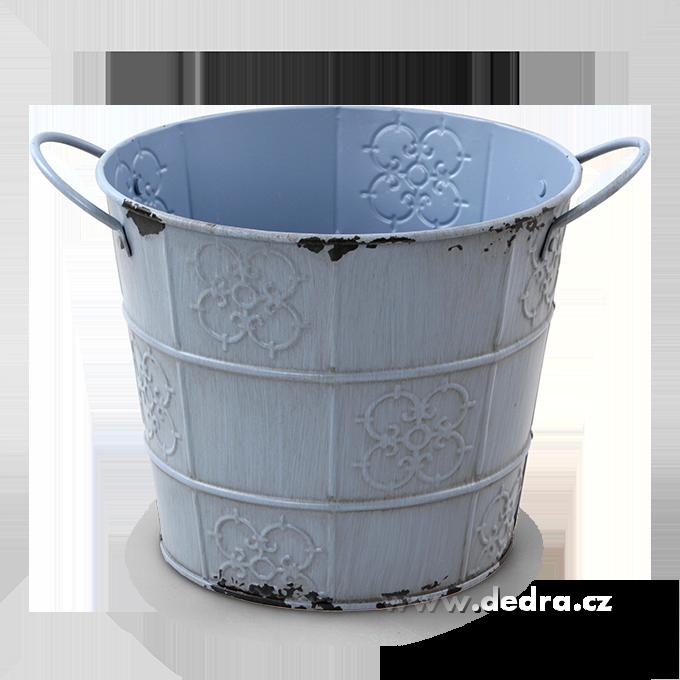 XXL Deko obal na květináč kovový s patinou pastelově fialový