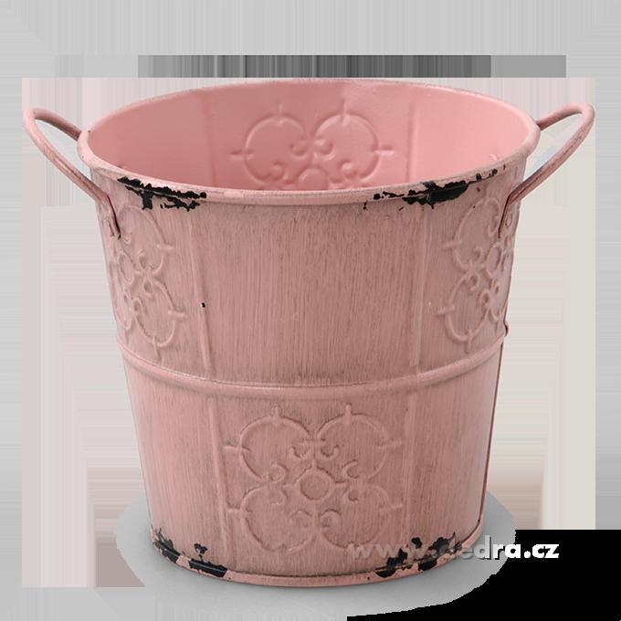 Deko obal na květináč kovový s patinou pastelově růžový