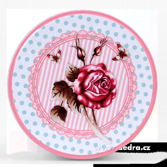 Kovová kulatá dóza, ROSE&BUTTERFLY