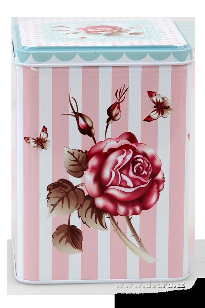 Vysoká hranatá dóza ROSE&BUTTERFLY 10,5x10,5x14,5 cm