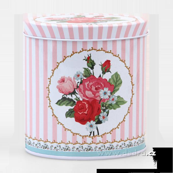 Vysoká oválná dóza ROSE&BUTTERFLY růžová 11x8x12 cm