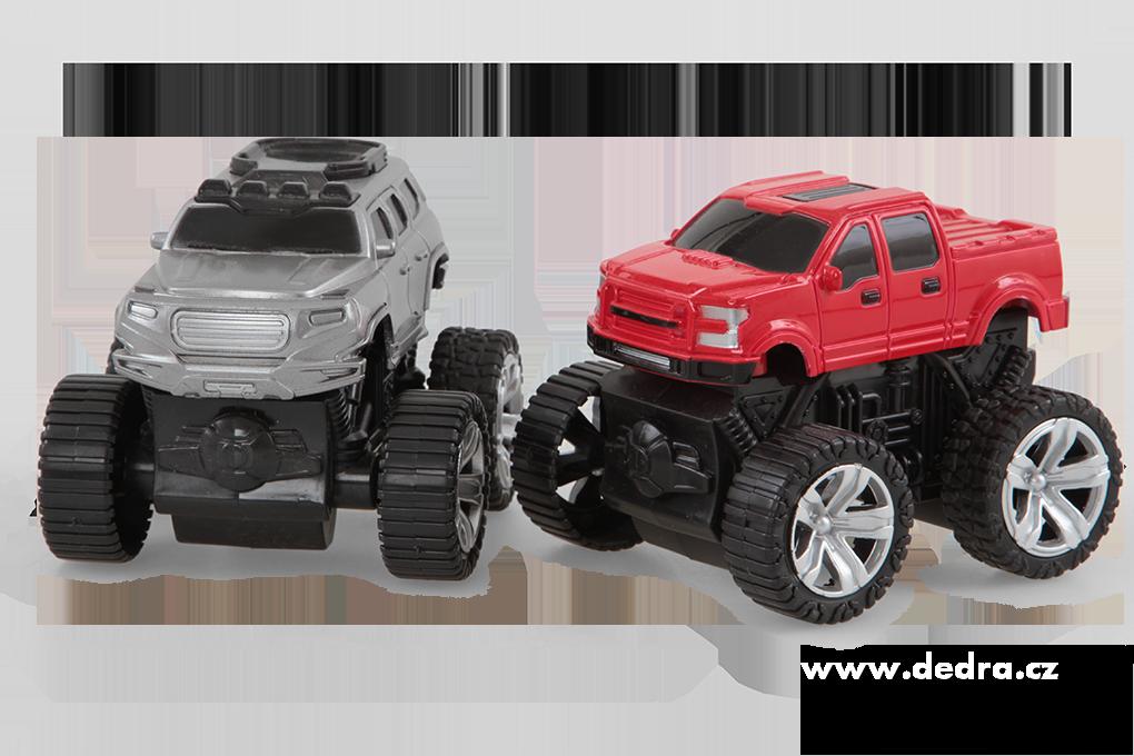 Sada 2 ks JEEP terénní auto SUV stříbrný a červený