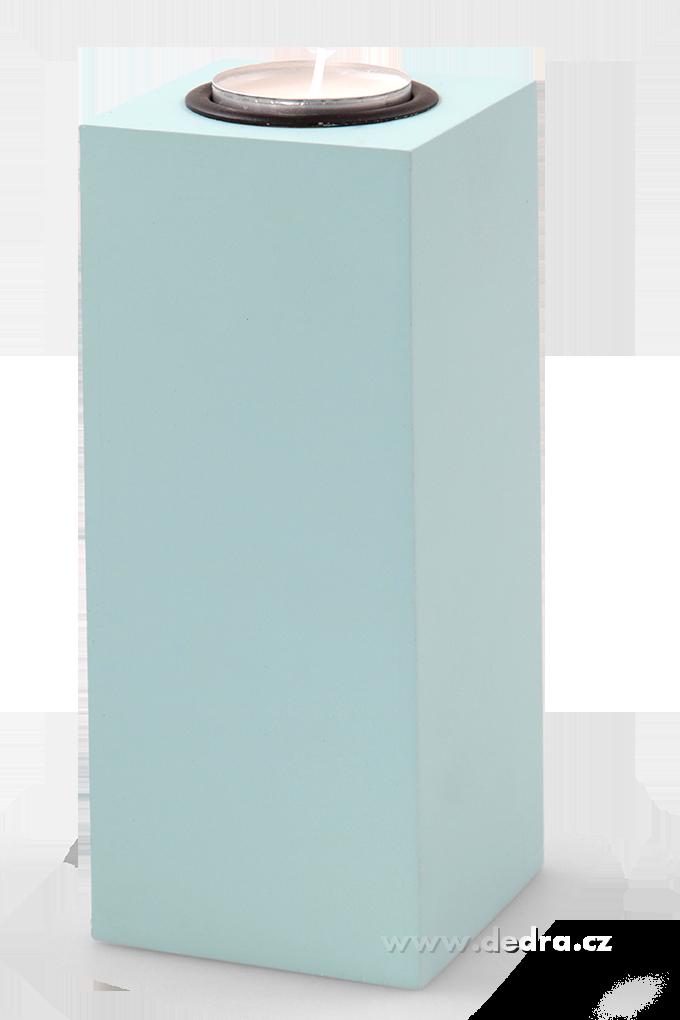 Svícen tvar hranolu na čajovou svíčku mintový, výška 17 cm