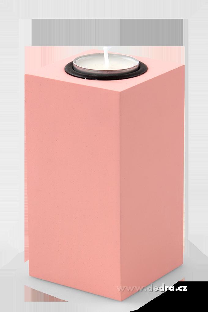 Svícen tvar hranolu na čajovou svíčku růžový, výška 13 cm