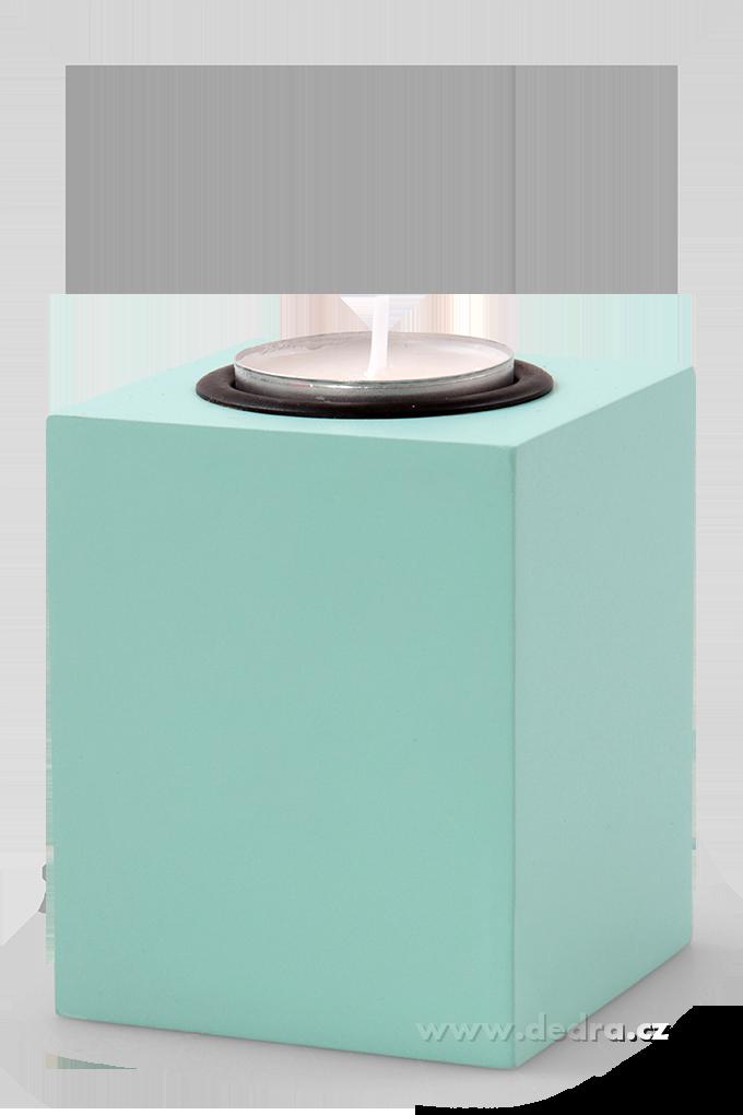 Svícen tvar hranolu na čajovou svíčku mintový,výška 8,5 cm
