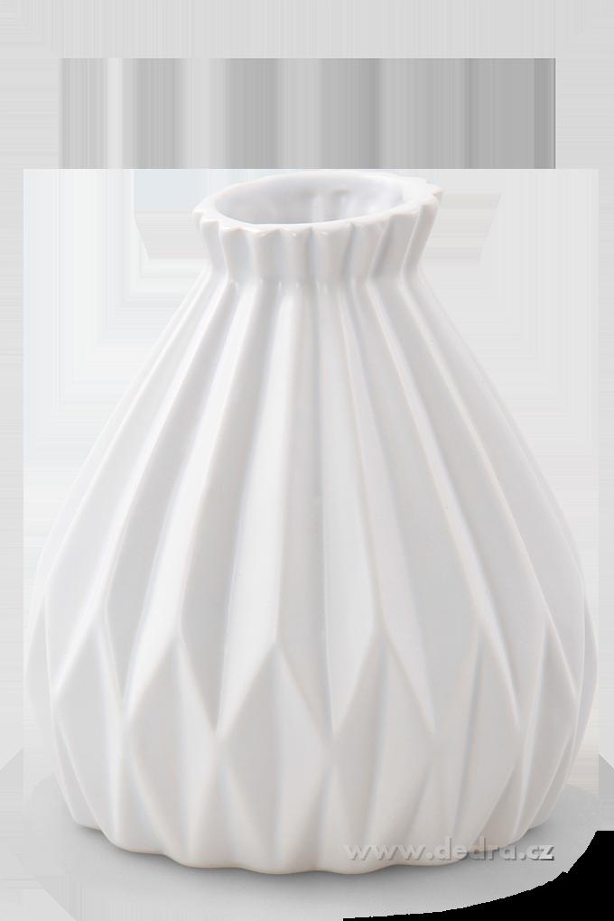 Dekorativní váza keramická reliéfní přírodní bílá