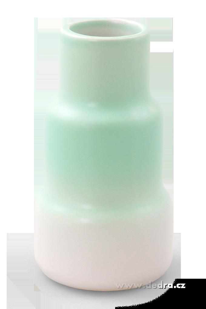 Keramická váza stupňovitého tvaru mintová