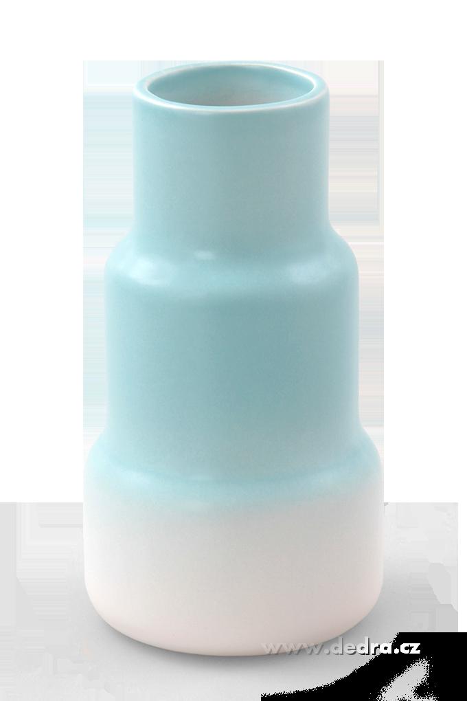 Keramická váza stupňovitého tvaru pastelově modrá