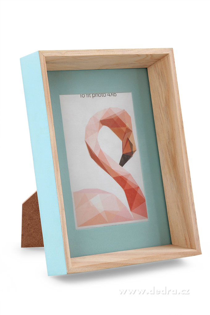 Dřevěný fotorámeček, pastelově mintový