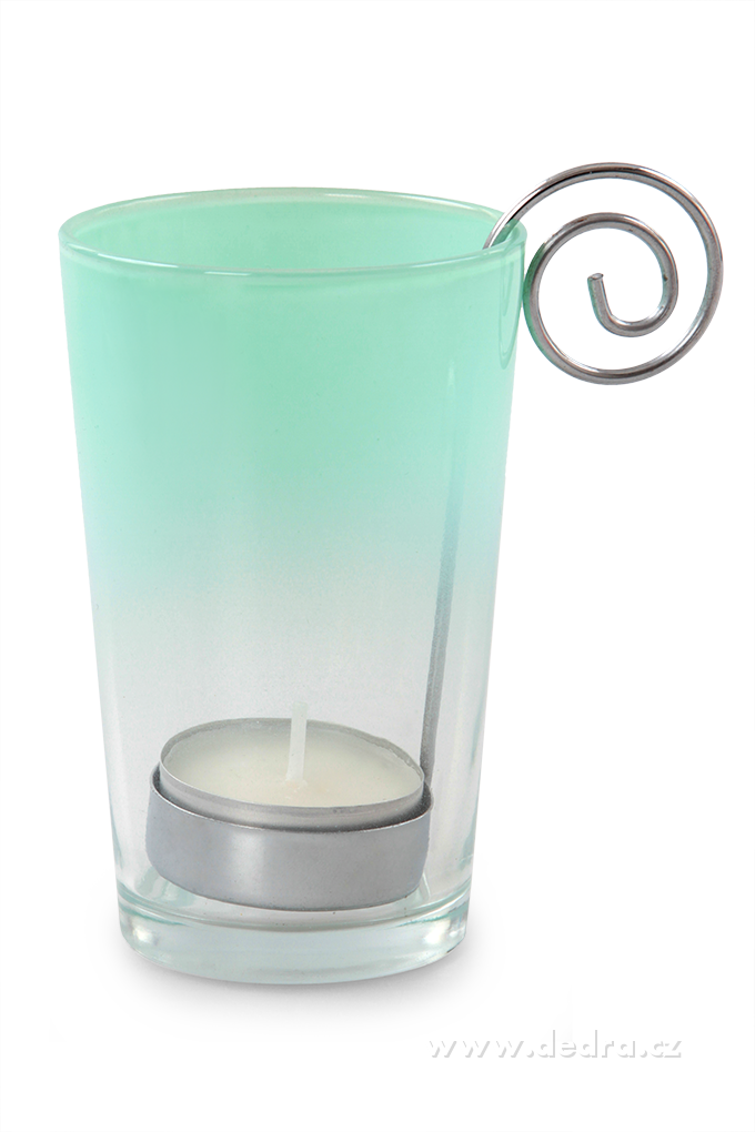 Skleněný svícen na čajovou svíčku s kovovým držadlem