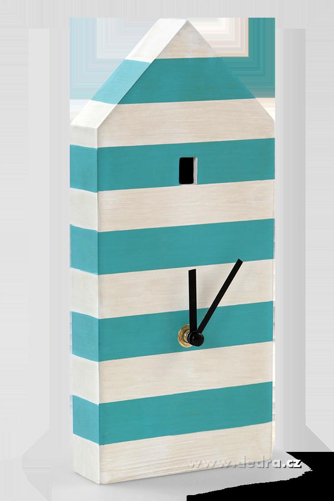 DOMEK dřevěné hodiny, pruhované s kyvadlem