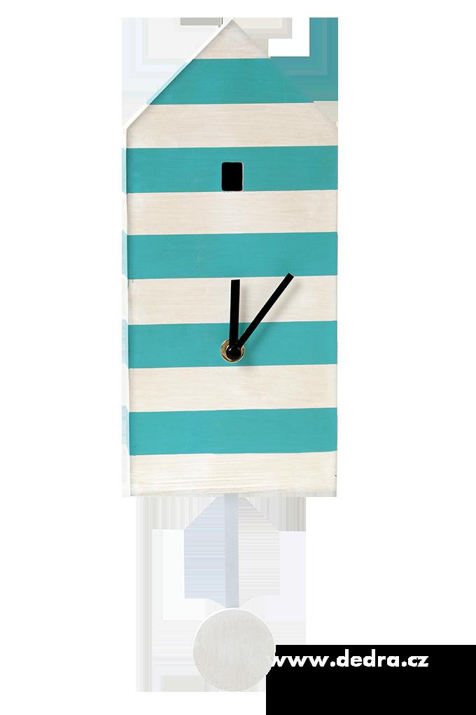 DOMEK dřevěné hodiny pruhované s kyvadlem