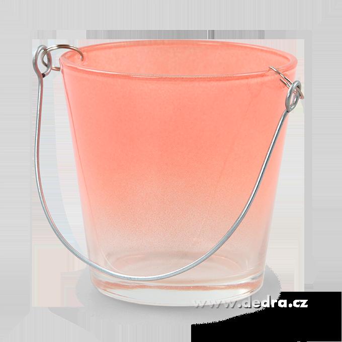 Skleněný svícen na čajovou svíčku ve tvaru kyblíku