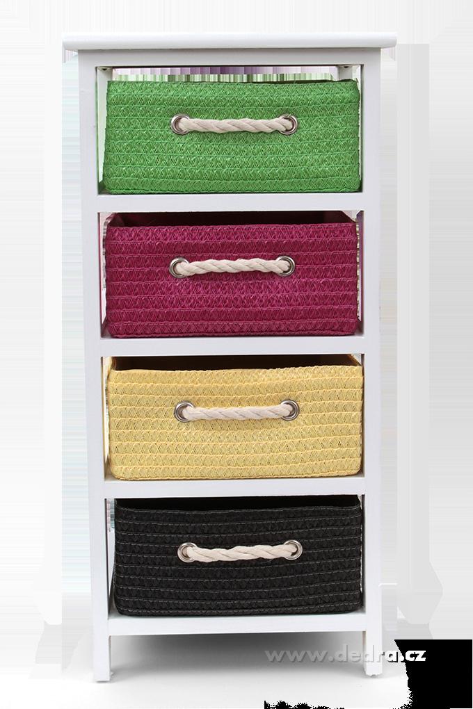 Čtyřpatrový regál se 4 barevnými boxy