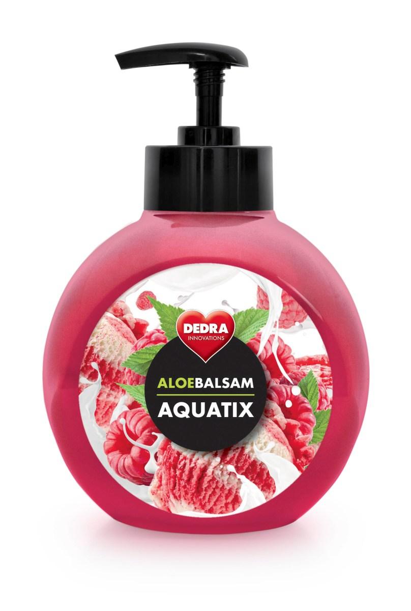 ALOEBALSAM AQUATIX koncentrát na ruční mytí nádobí, maliny se smetanou s pumpičkou