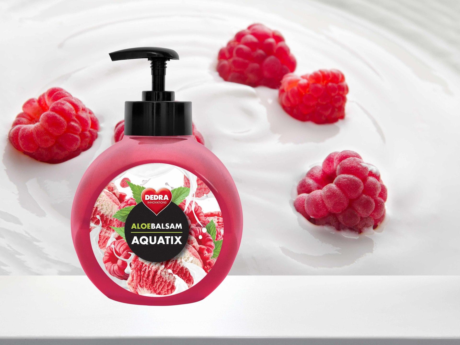 ALOEBALSAM AQUATIX koncentrát na ručné umývanie riadu, maliny so smotanou s pumpičkou