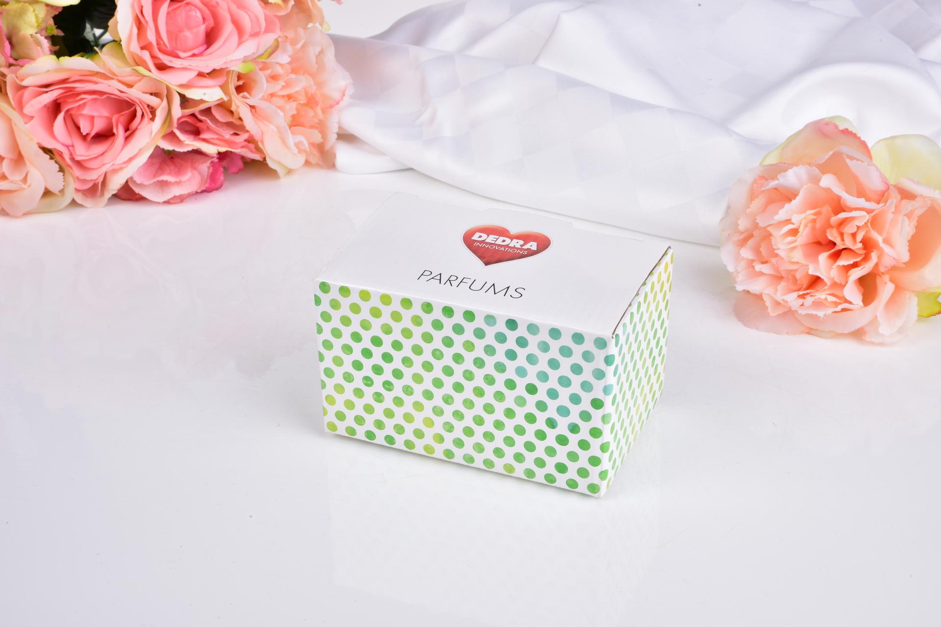 Sada 34 vzorků vůní aviváží, dámských a interiérových parfémů v kazetě z recyklovaného papíru