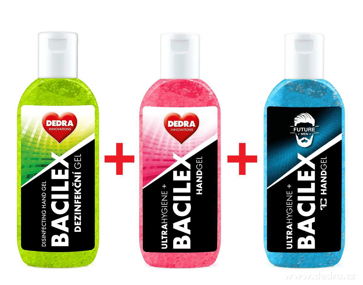 RODINNÁ SADA 2+1 ZDARMA gel na ruce, 70 % alkoholu, BACILEX® ultraHYGIENE+
