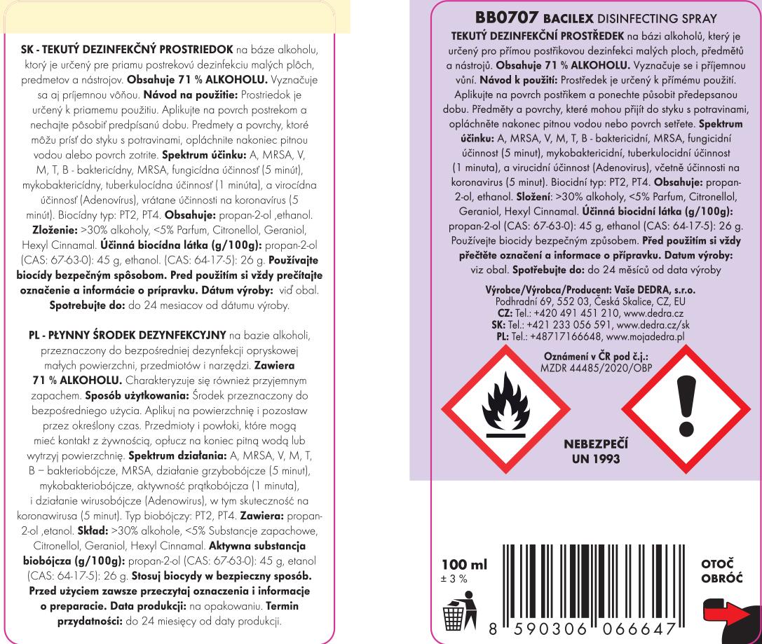 Dezinfekčný spray, 71 % alkoholu, na plochy i respirátory, BACILEX® DISINFECTING SPRAY