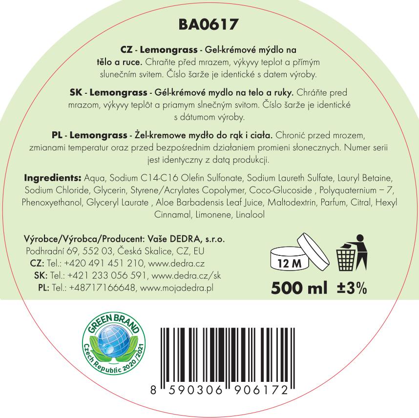 BUBLINO CREAMGEL lemongrass, tekuté mýdlo na tělo i ruce, bez pumpičky