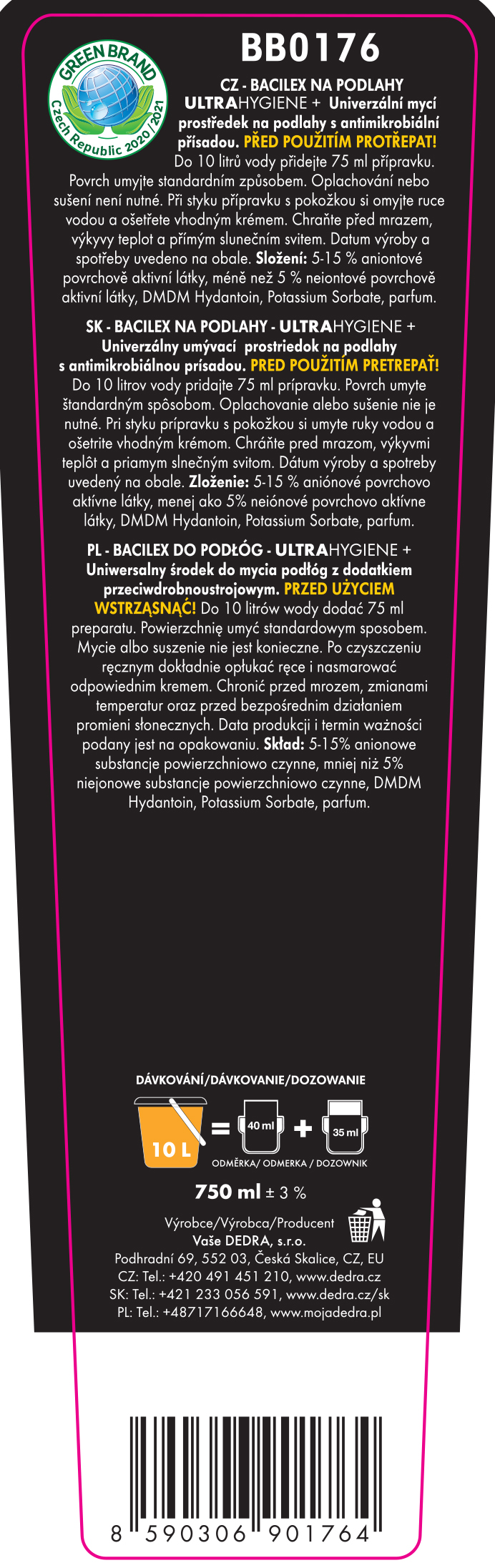 Umývací prostriedok NA PODLAHY s antimikrobiálnou prísadou BACILEX ULTRAHYGIENE +, 750 ml