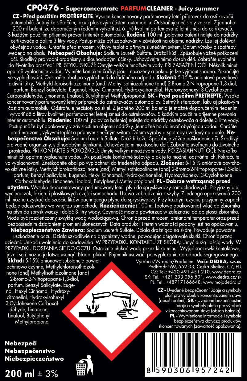 PARFUM CLEANER superkoncentrát do ostřikovačů (letní)