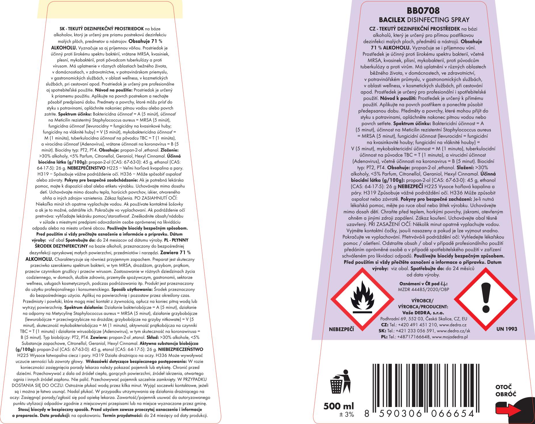 Sada 1+1 dezinfekčný spray na plochy i respirátory, 71 % alkoholu, BACILEX®