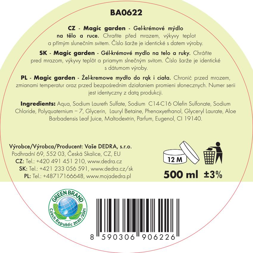 BUBLINO ALOEGEL magic garden, tekuté mýdlo na tělo i ruce, bez pumpičky